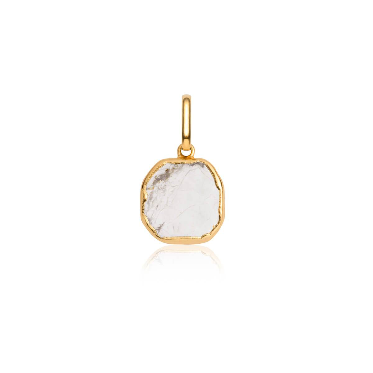 White Marble Metallic Pendant (Gold)