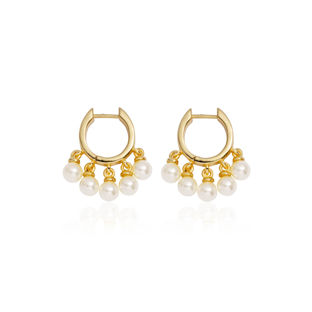 Pearl Droplet Mini Hoop Earrings (Gold)