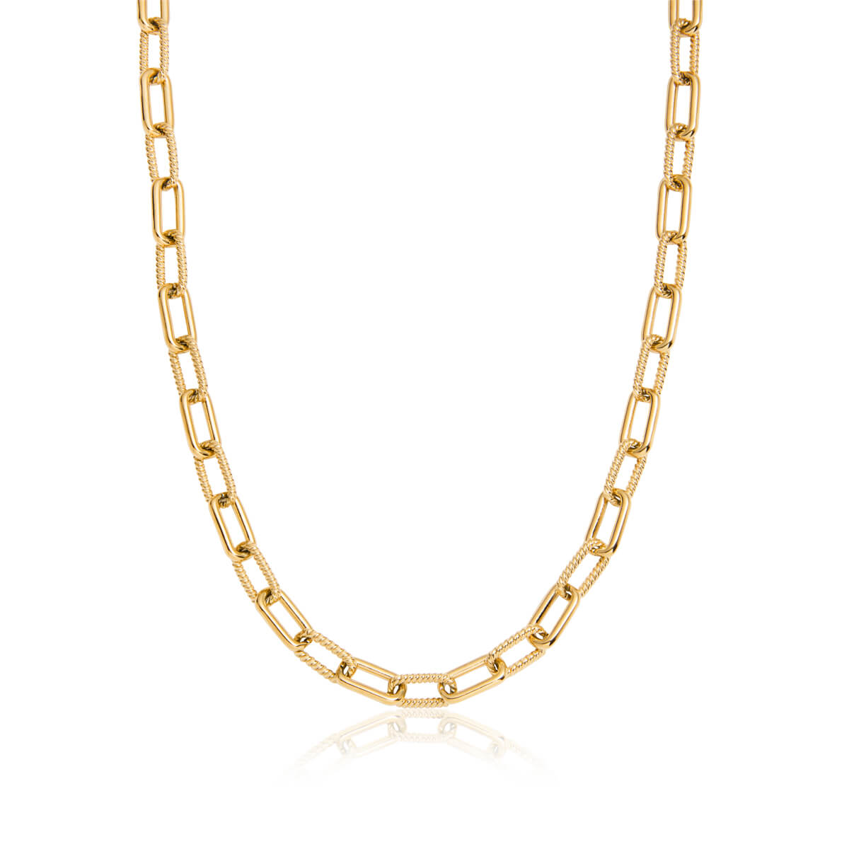 Square Link Chain Necklace (Gold)