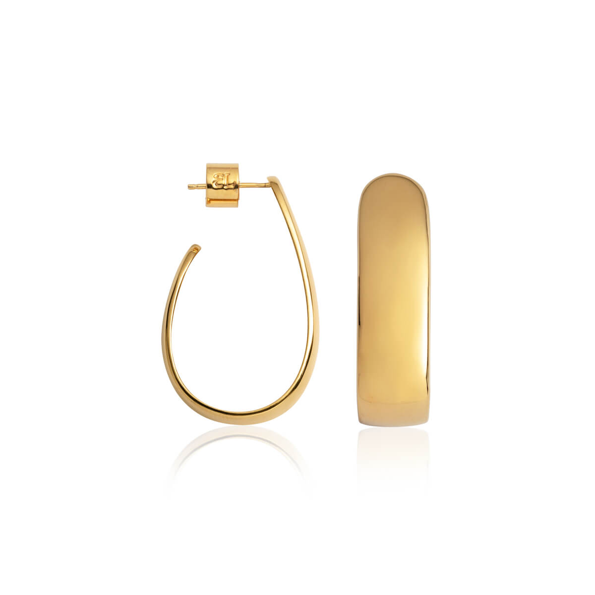 Oval Hoop Earrings (Gold)