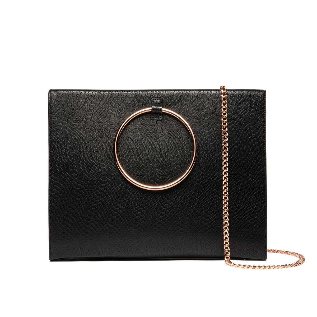 Grand Jet Black Moda Handbag (Rose Gold)