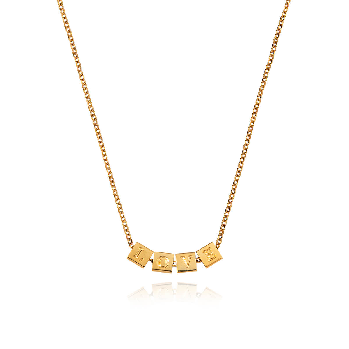 Cube Letter Necklace (Gold)