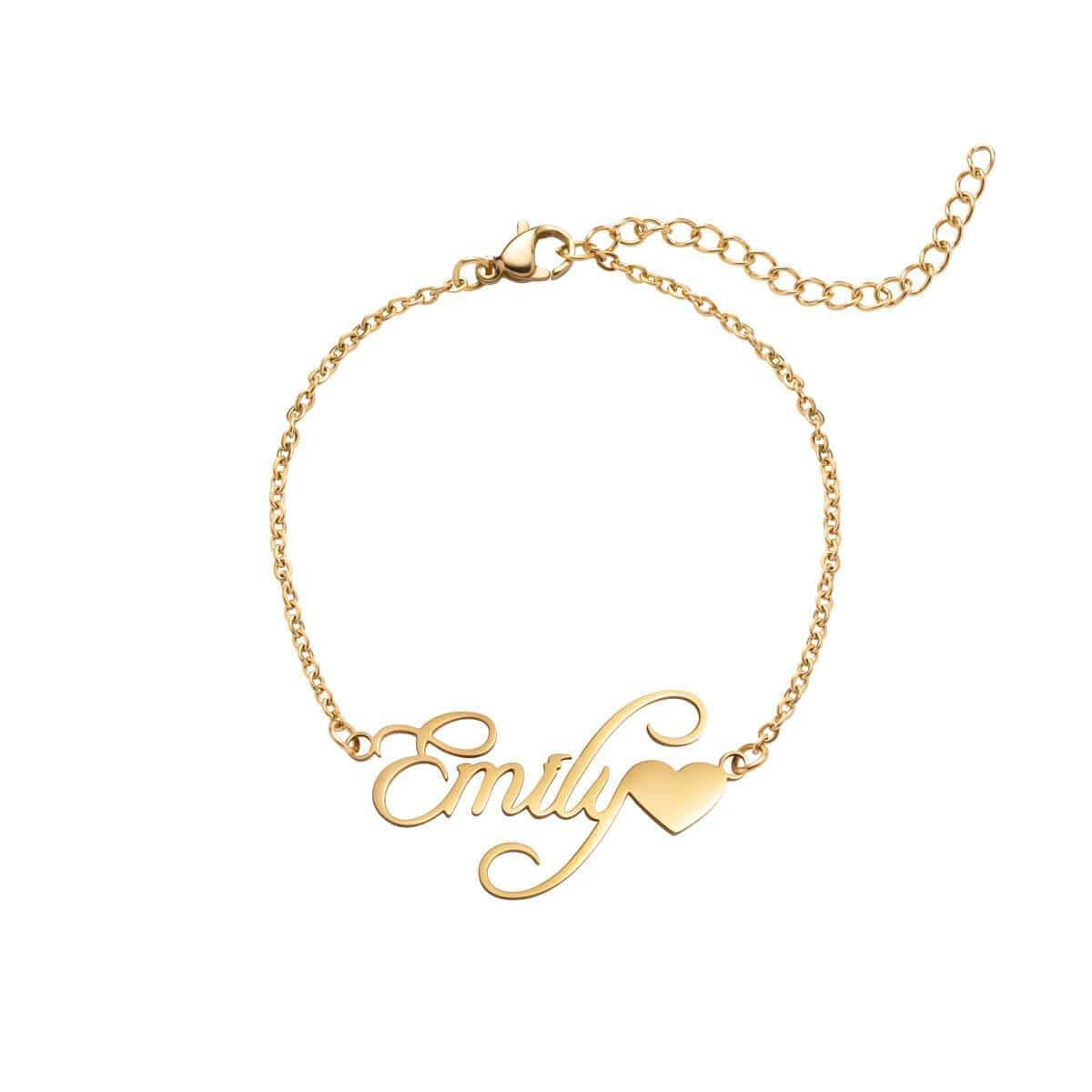 Love Heart Name Bracelet (Gold)