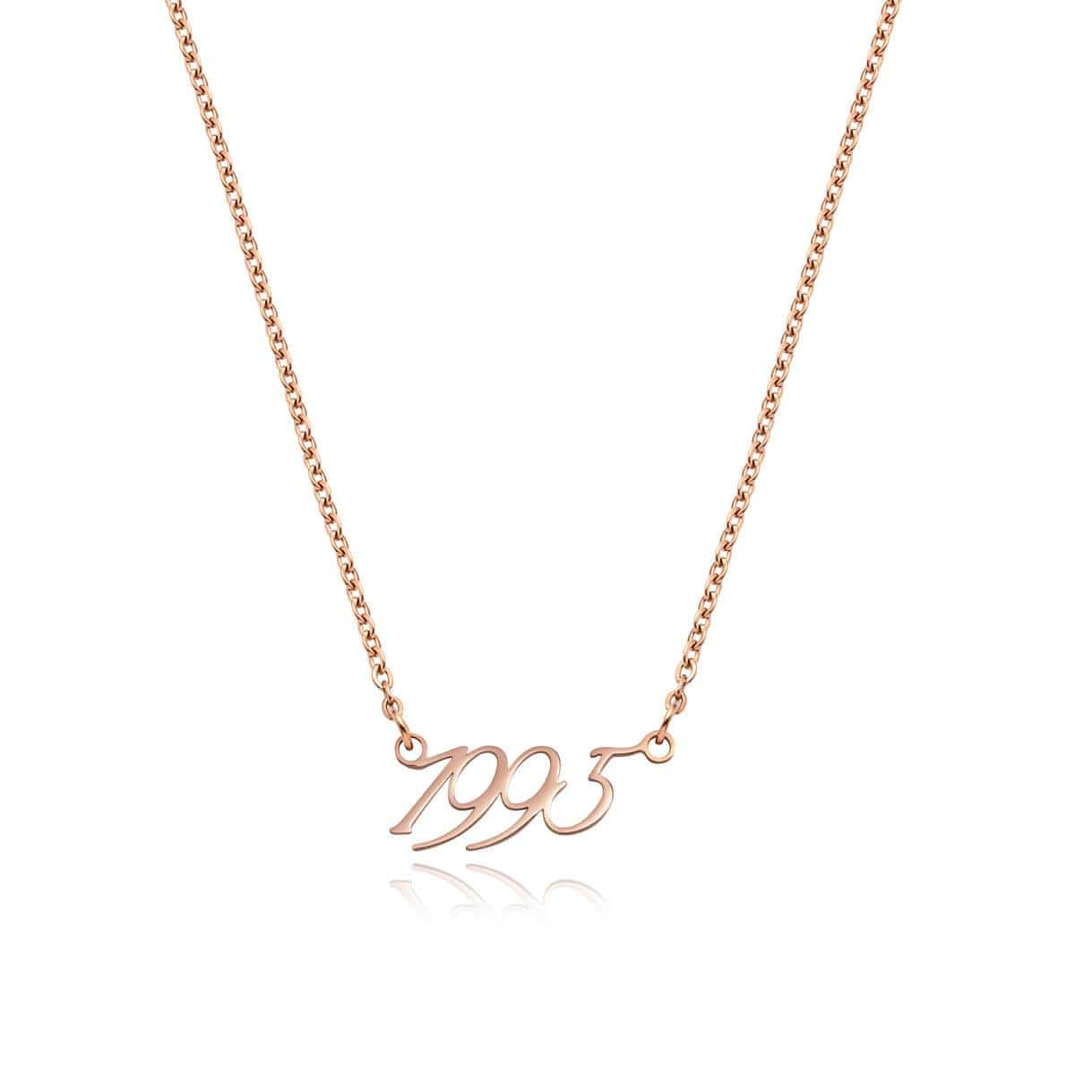 Script Date Necklace (Rose Gold).
