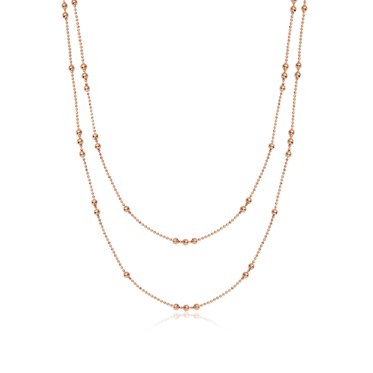 Double Sphere Chain Necklace (Rose Gold)