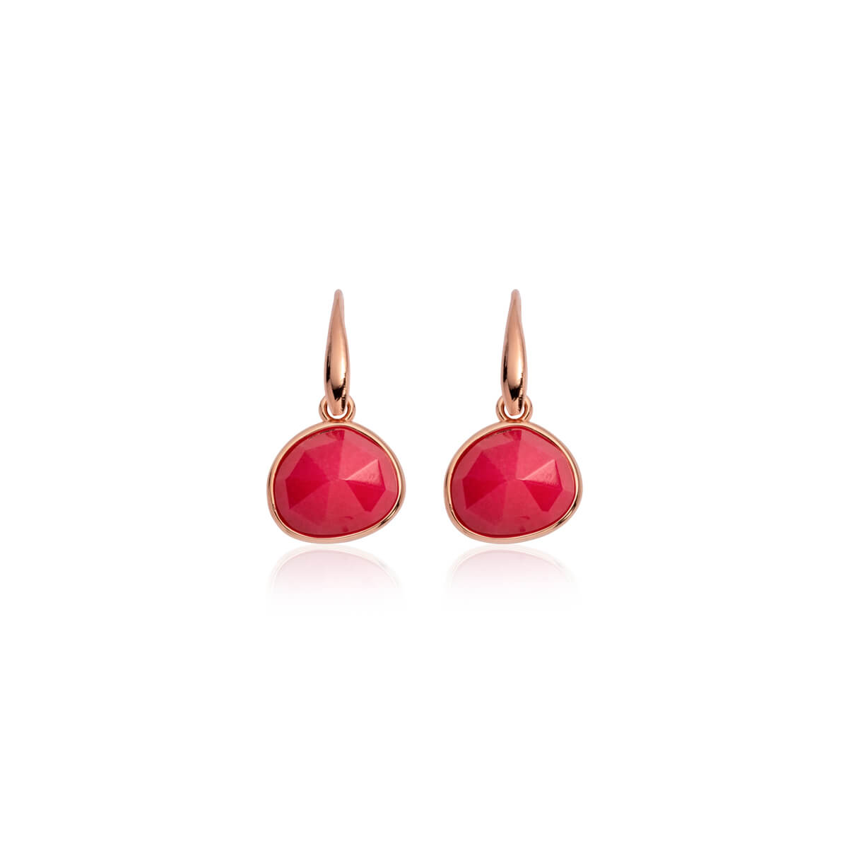 Fuchsia Droplet Earrings (Rose Gold)