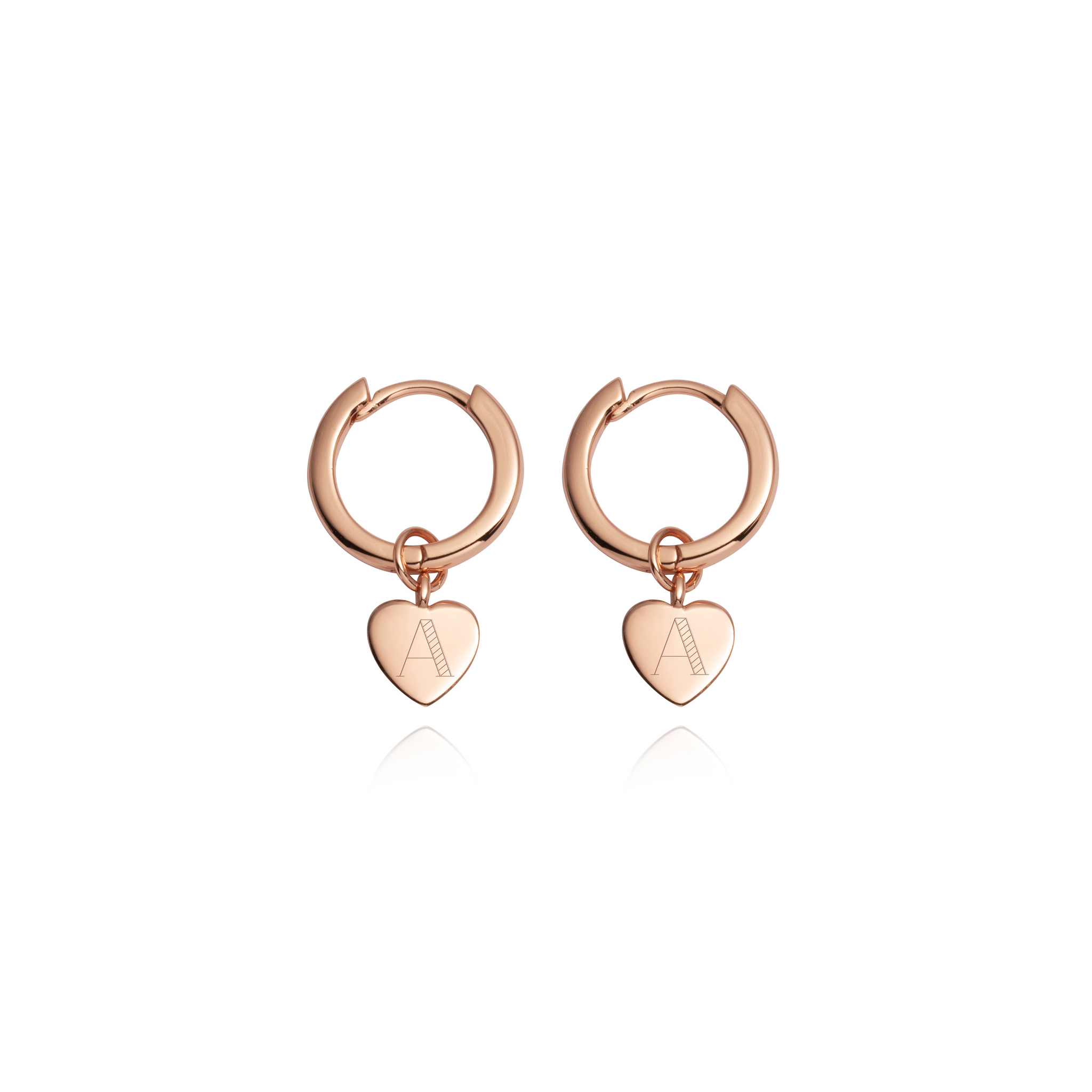 Sterling Silver Heart Pendant Earrings (Rose Gold)