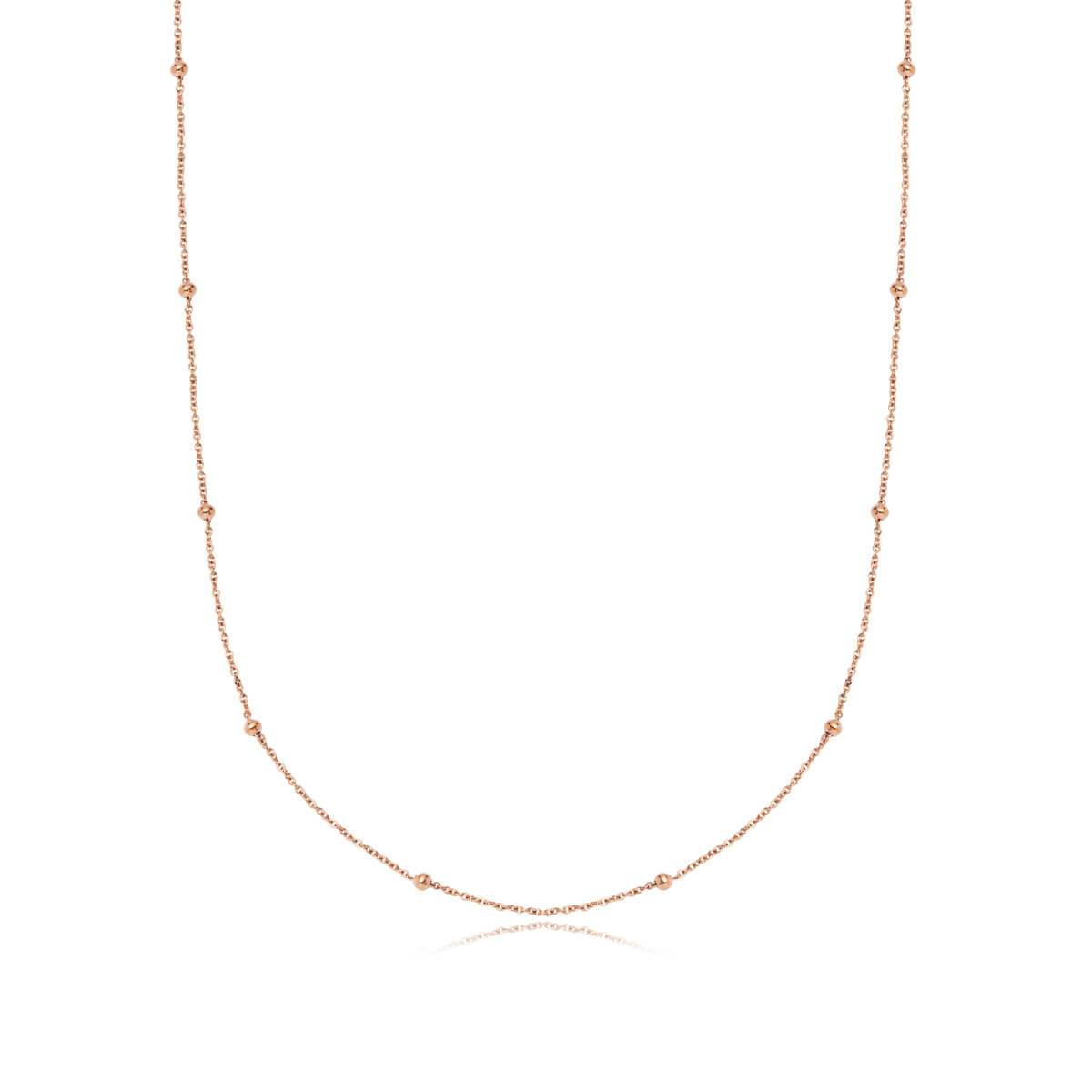 Selected Sphere Chain Necklace 16 in (Rose Gold)