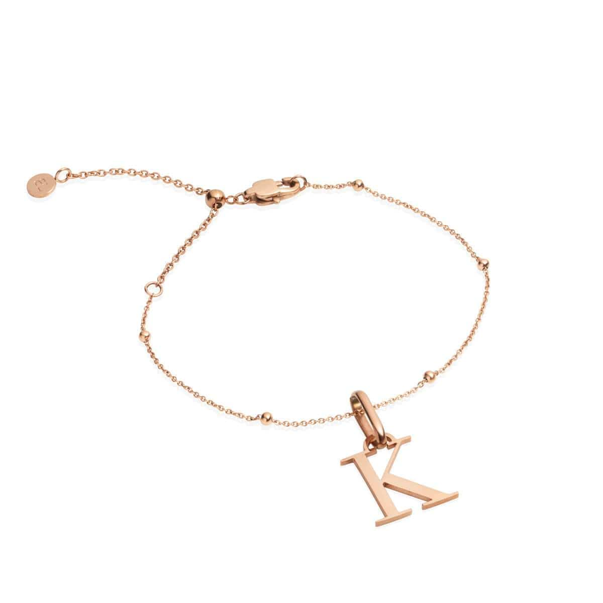 Letter Sphere Chain Bracelet (Rose Gold)