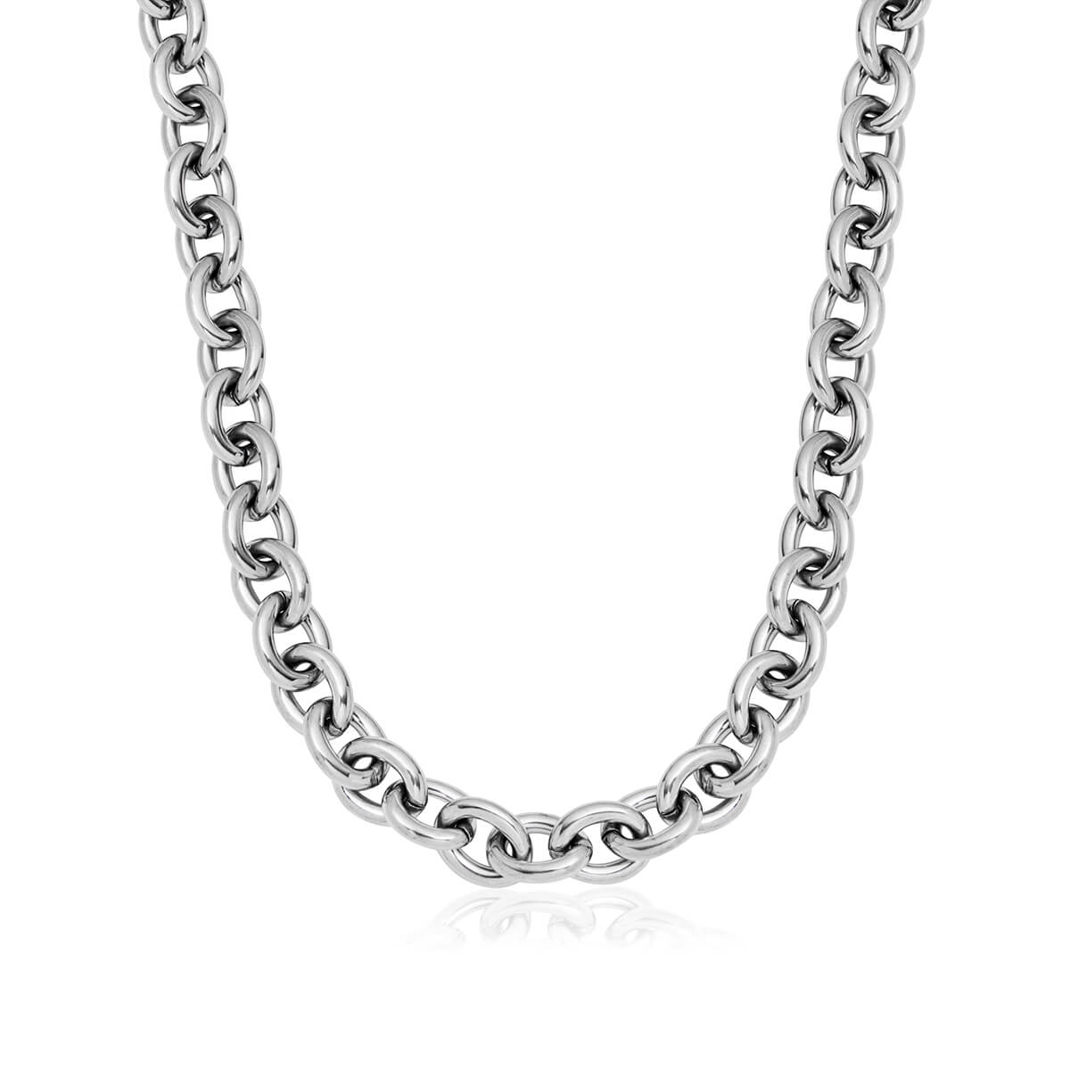 Oval Link Chain Necklace (Silver)