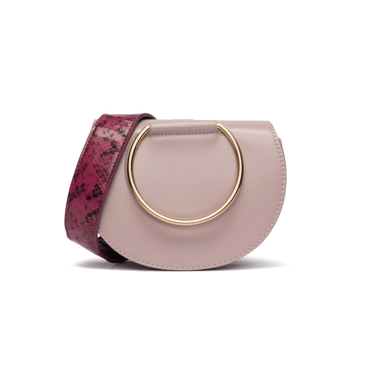Mauve Pink Eva Clutch Bag Yellow Gold