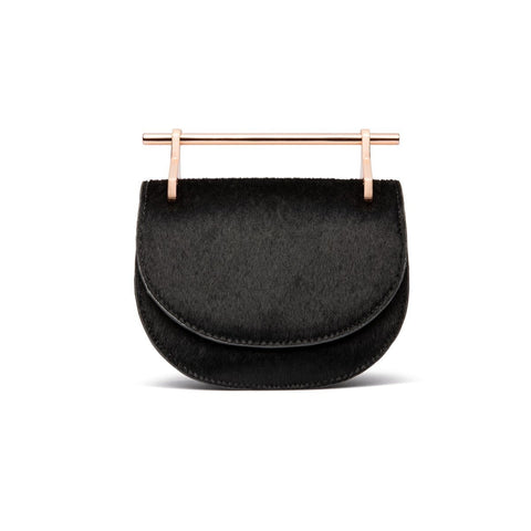 Ava Half Moon Clutch (Jet Black/Rose Gold)