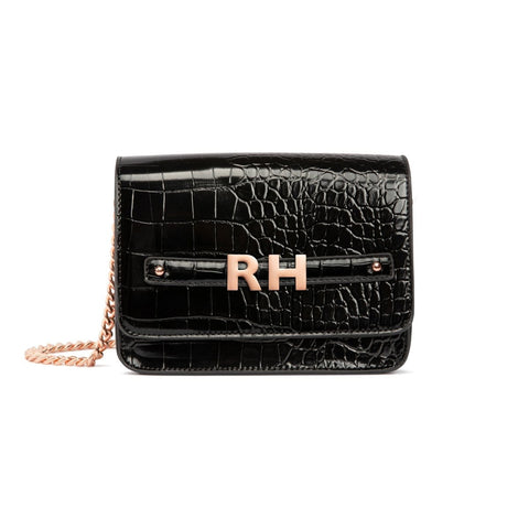 Personalise Crossbody Bag (Jet Black/Rose Gold)