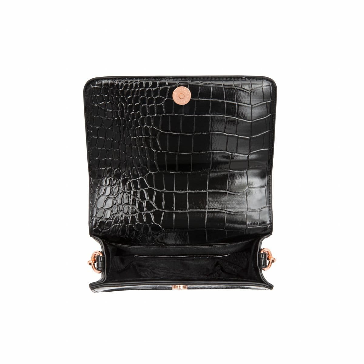 Jet Black Personalise Handbag Rose Gold