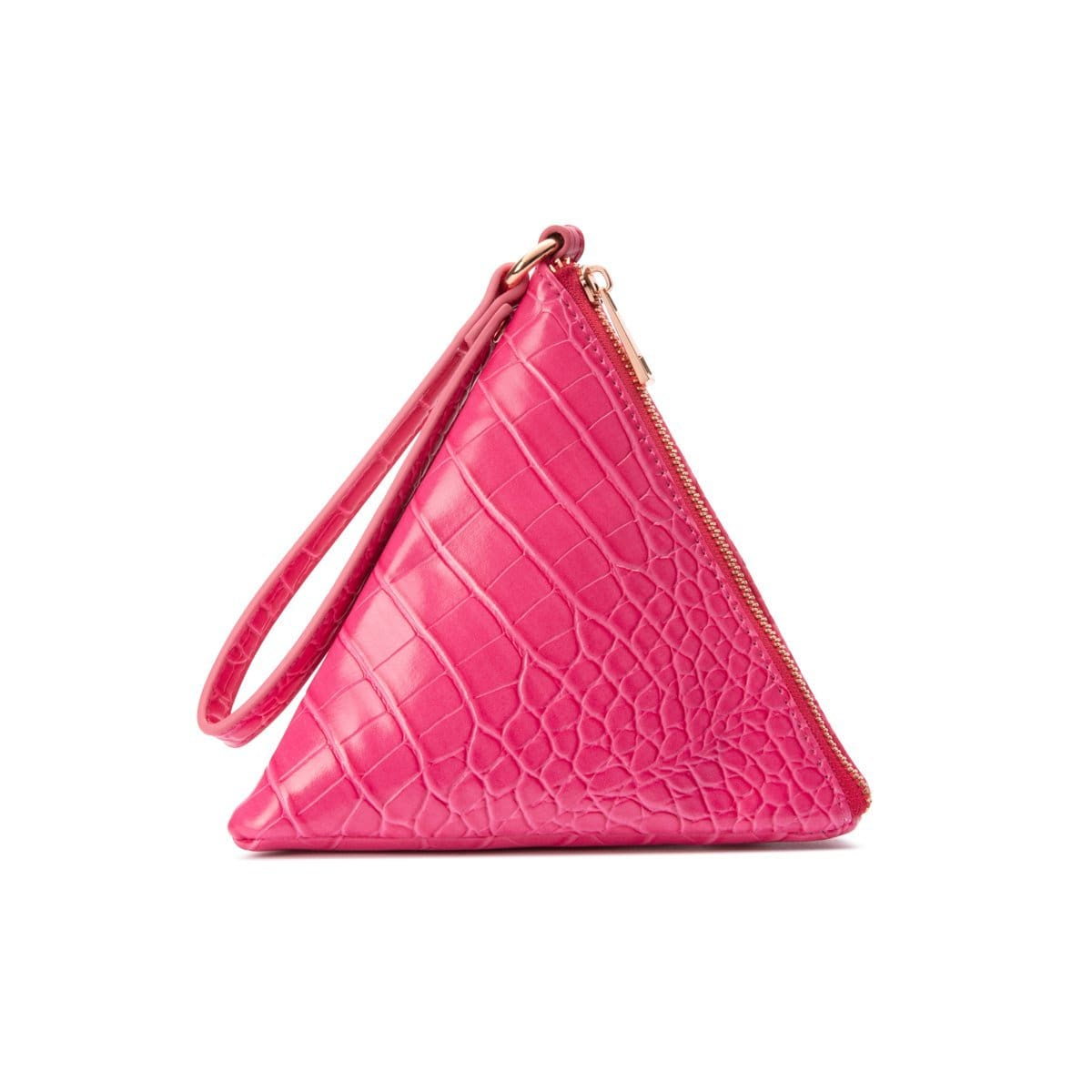 Lilly Pyramid Clutch (Fuchsia Pink/Rose Gold)