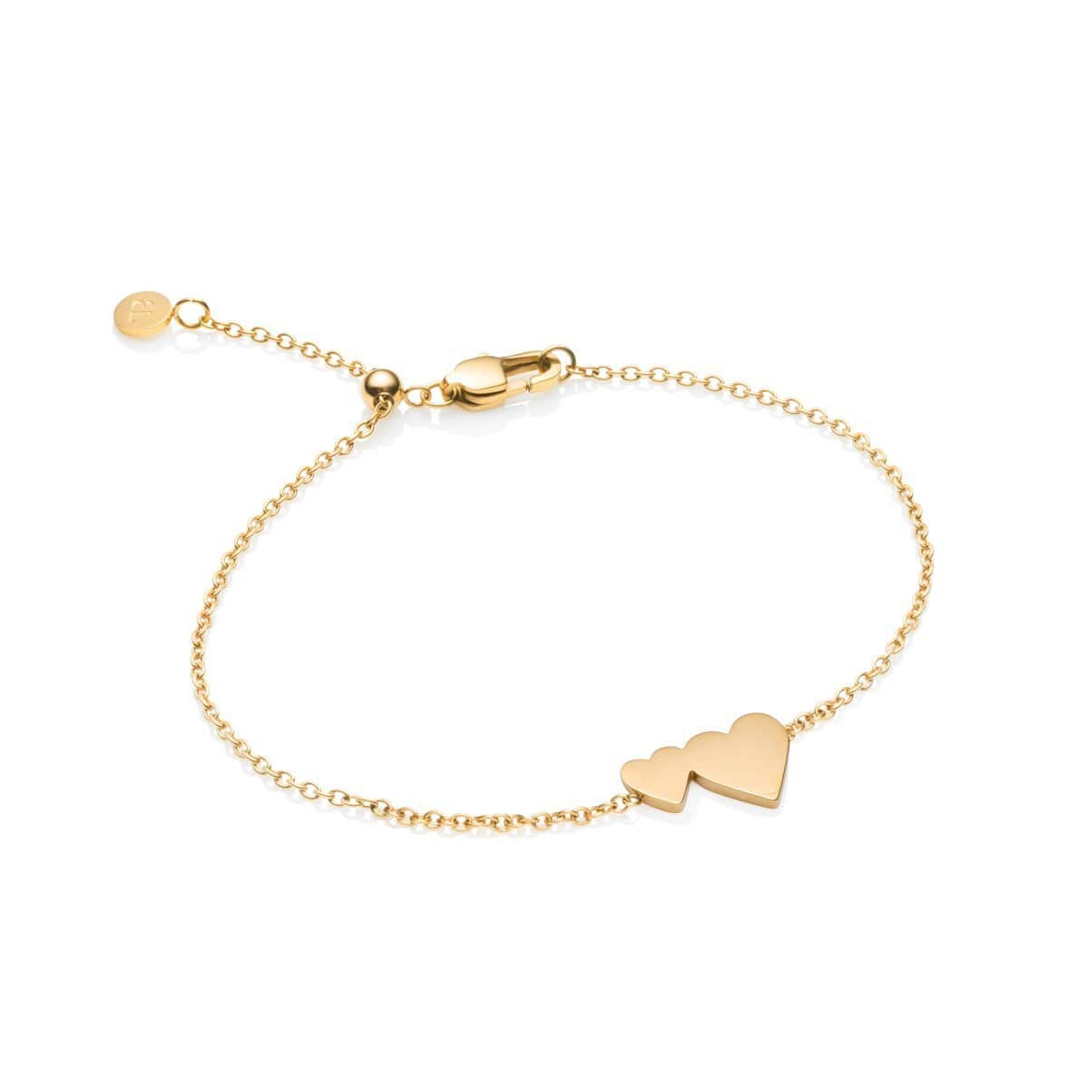 Little Luxe Double Heart Armband (Yellow Gold)