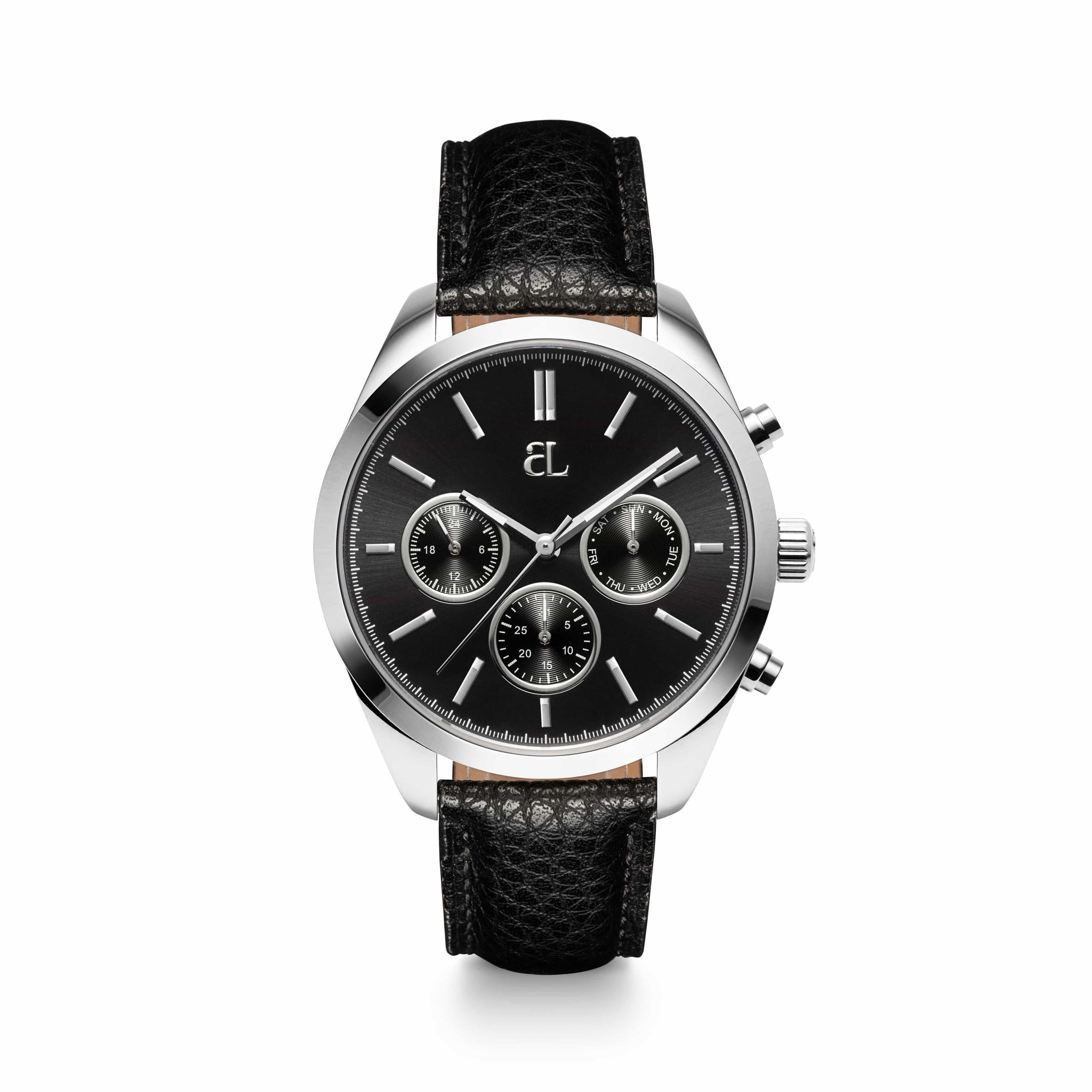 Jet Black Chronograph Gun 40 Leather