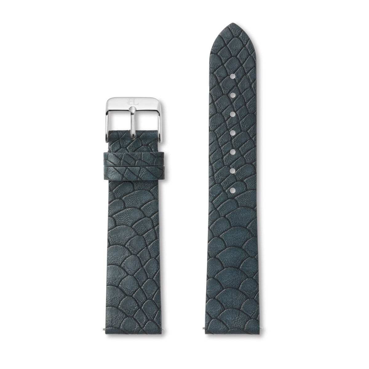 Oxford Blue Alligator-Leder Armband 40 (Silver)