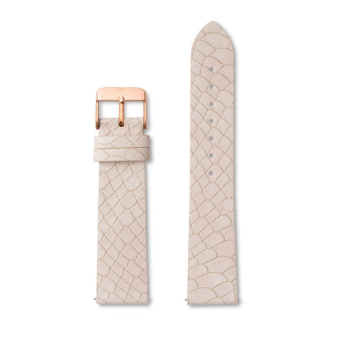 Ivory White Alligator-Leder Armband 40 (Rose)