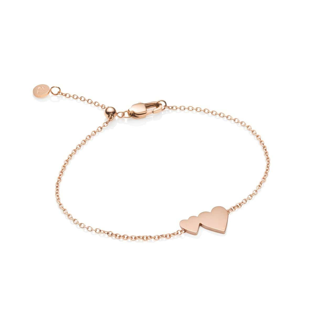 Little Luxe Double Heart Armband (Rose Gold)