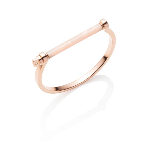 Screw Cuff Armreif (Pink Pearl/Rose Gold)