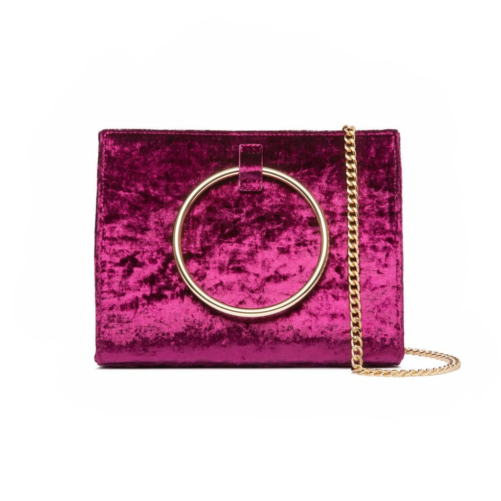 Moda Velvet Handtasche (Raspberry/Yellow Gold)