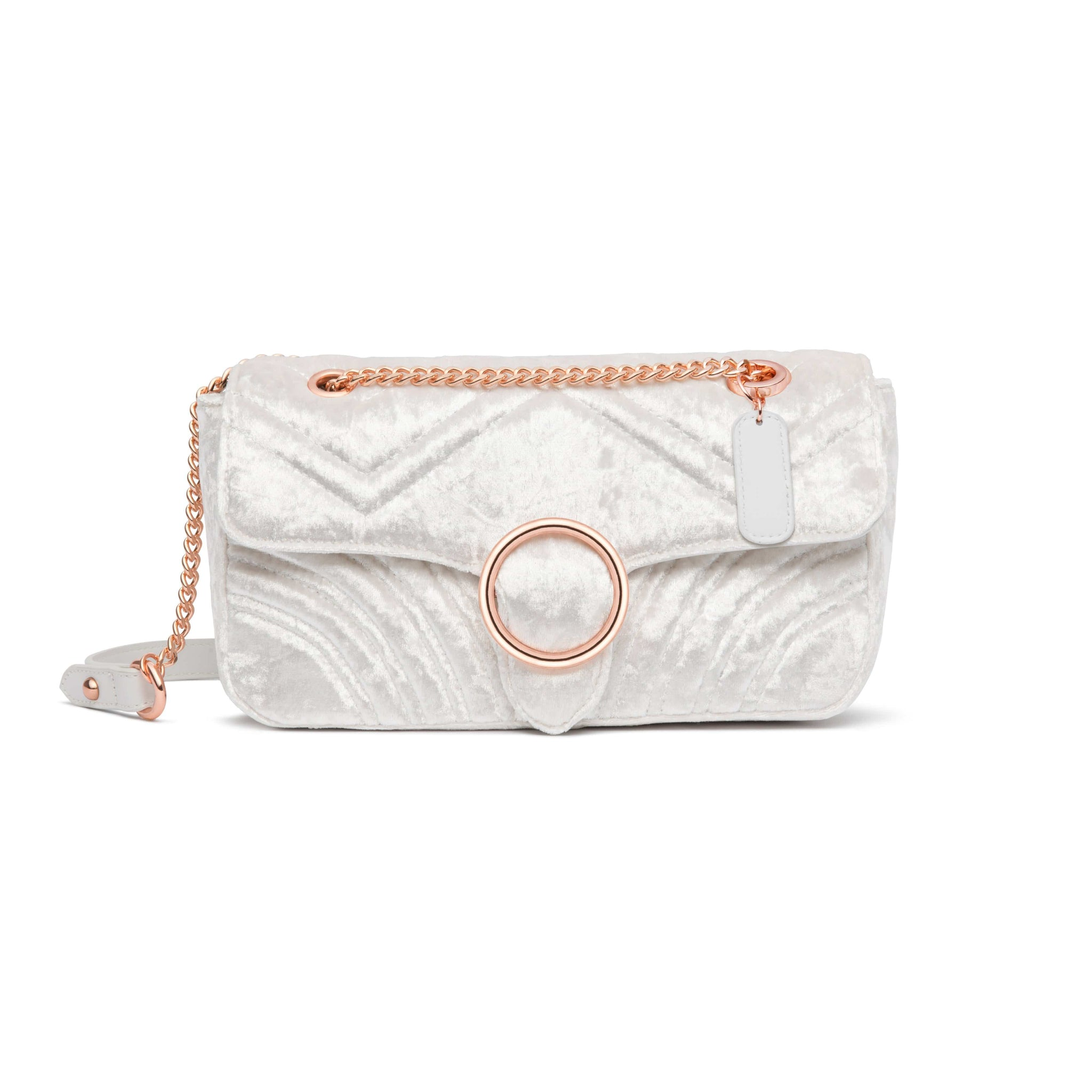 Gigi Velvet Handtasche (Snow White/Rose Gold)