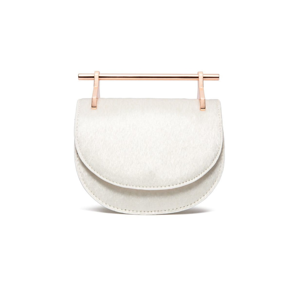 Ava Half Moon Clutch (Snow White/Rose Gold)