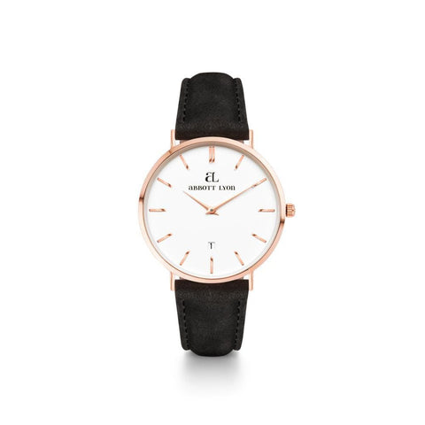 Rose Gold Kensington 34 Leder Schwarz (Rose/White)