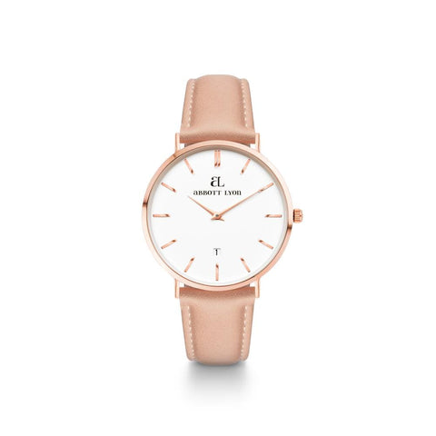Rose Gold Kensington 34 Leder Hautfarben (Rose/White)