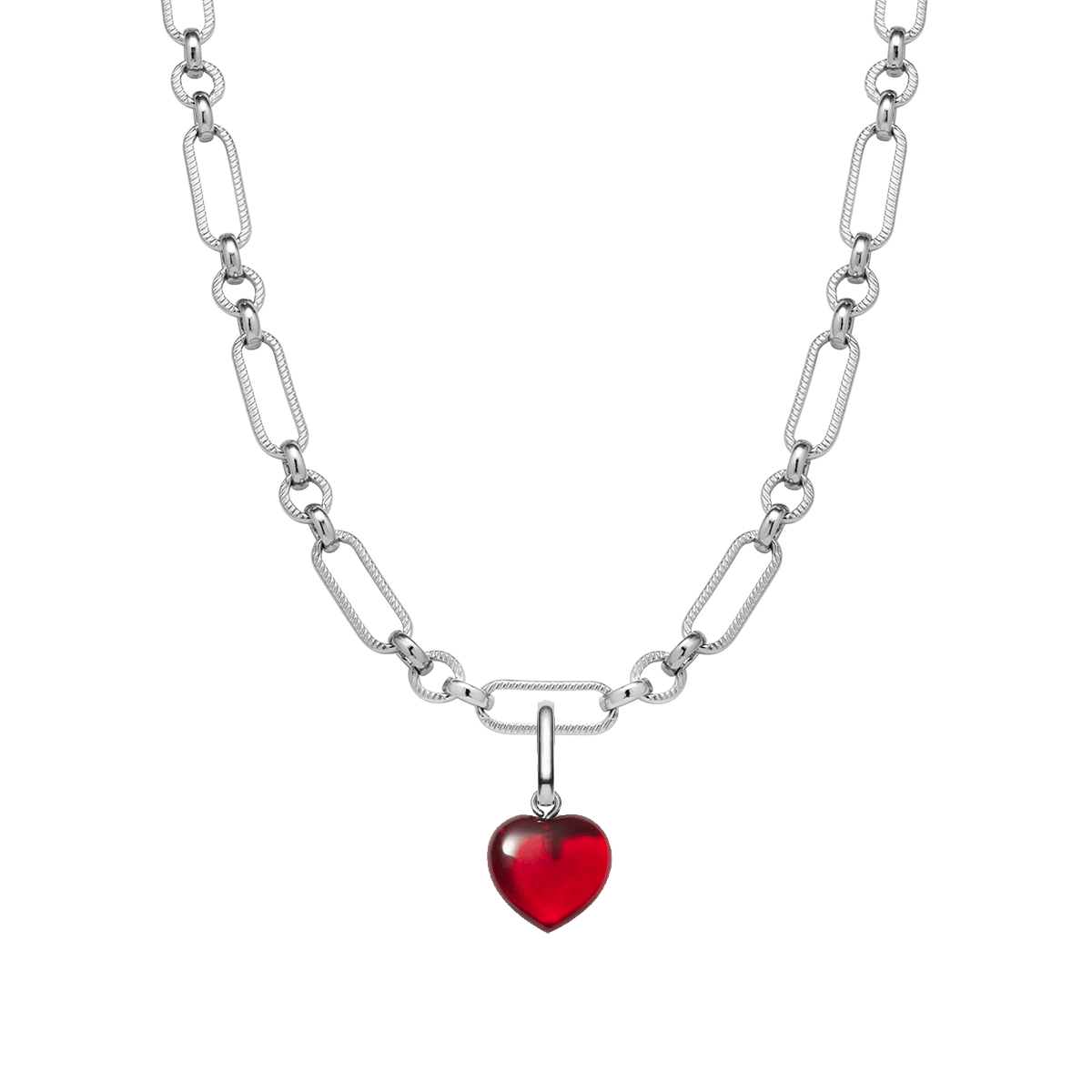 Birthstone Figaro Chain Necklace (Silver)