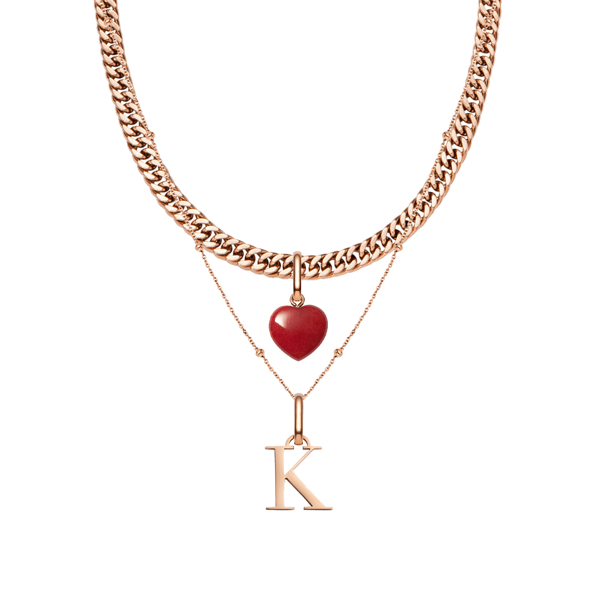 Letter & Birthstone Layered Set (Rose Gold)