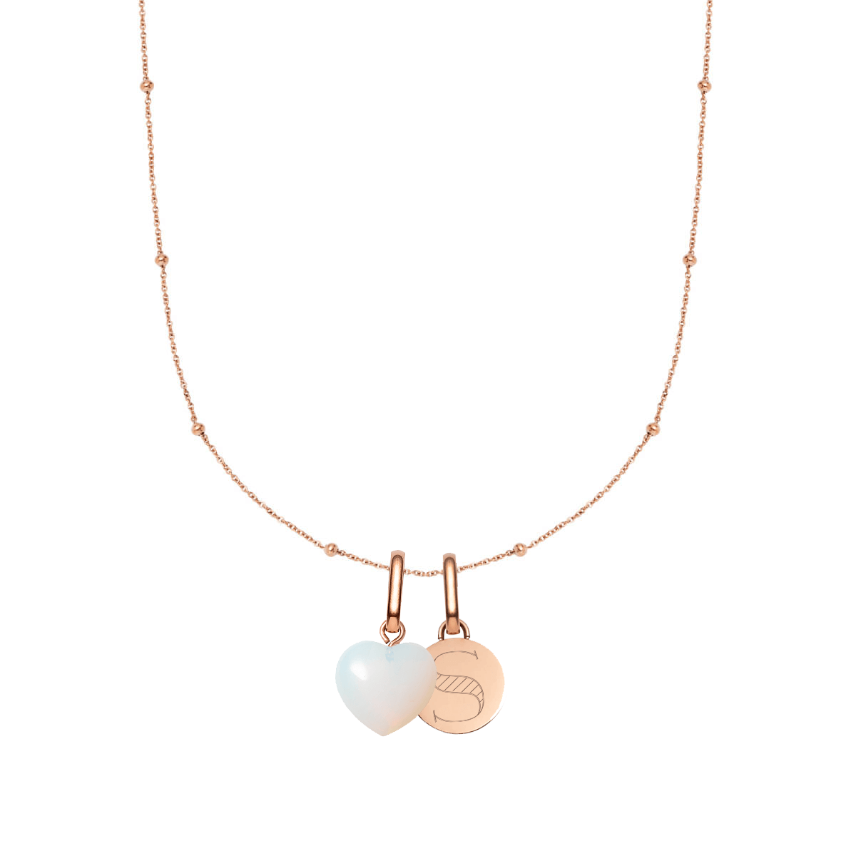 Birthstone & Circular Pendant Sphere Chain Necklace (Rose Gold)