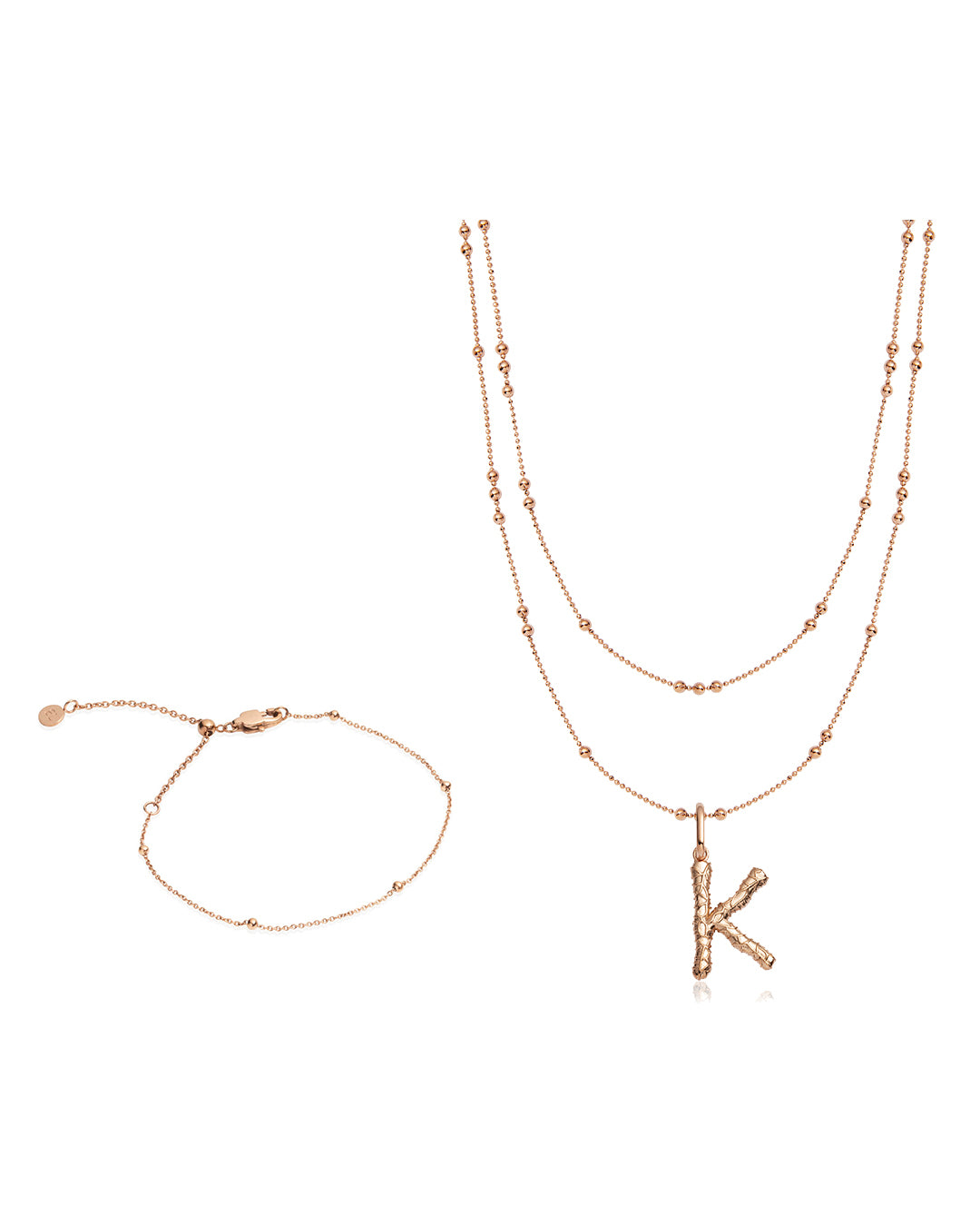 Foil Letter Sphere Chain Necklace & Bracelet Gift Set (Rose Gold)