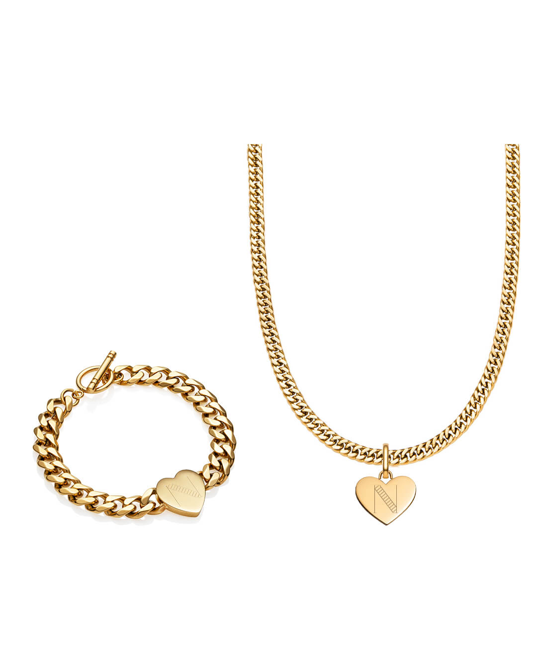 Heart Curb Chain Necklace & Bracelet Gift Set (Gold)