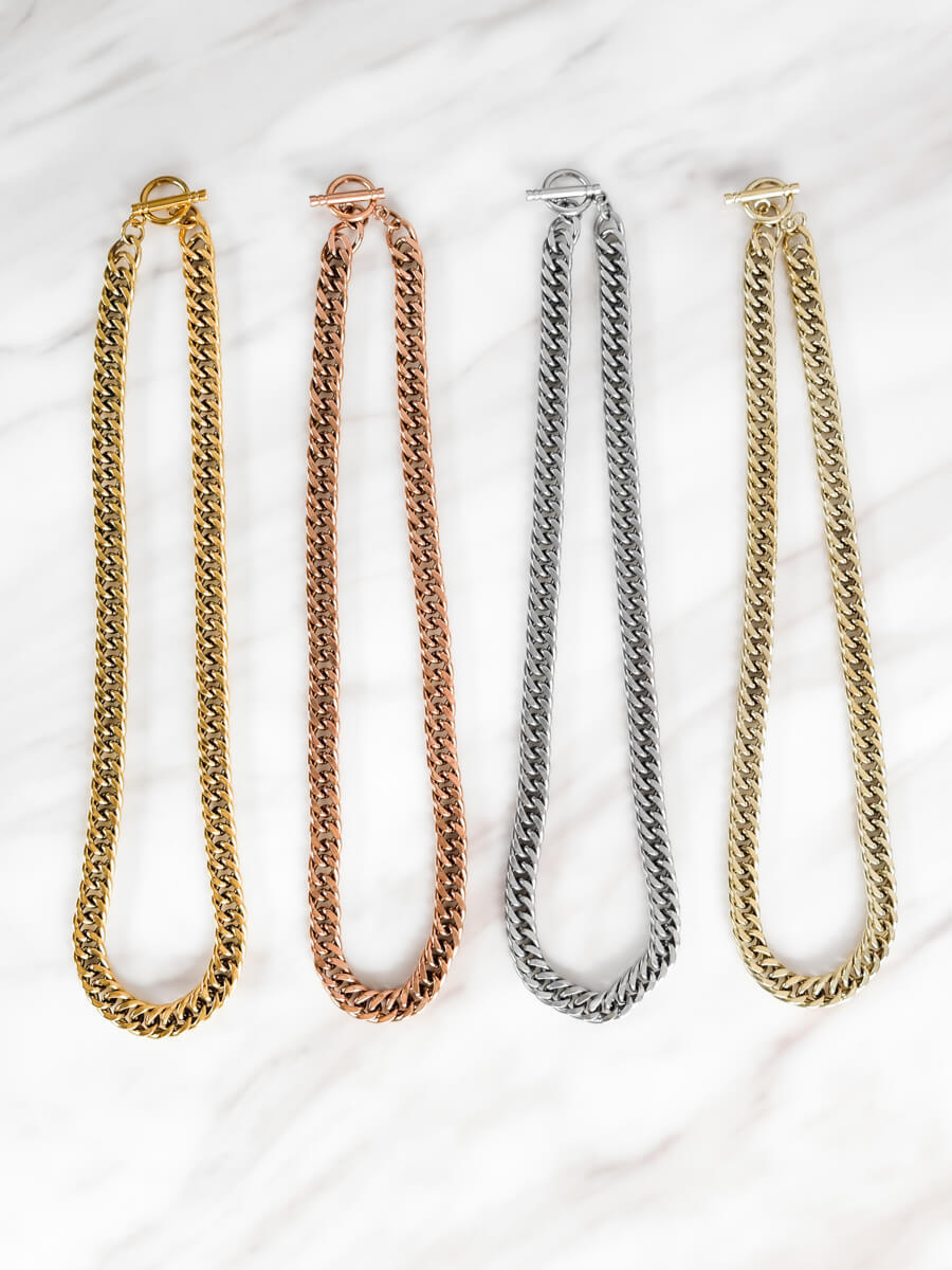 Curb Chain Necklace 18 in (Champagne)