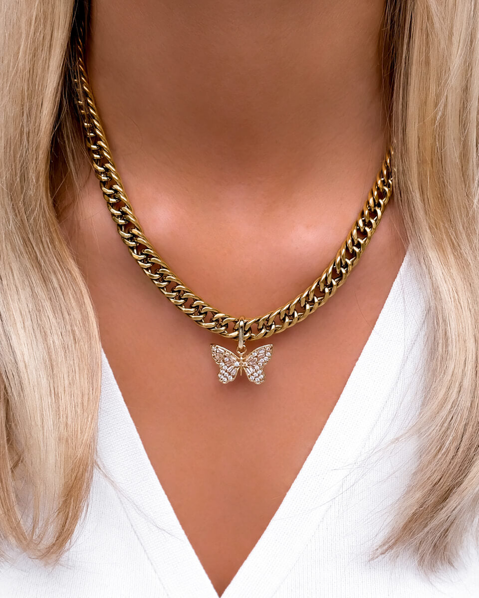Crystal Butterfly Curb Chain Necklace (Gold)