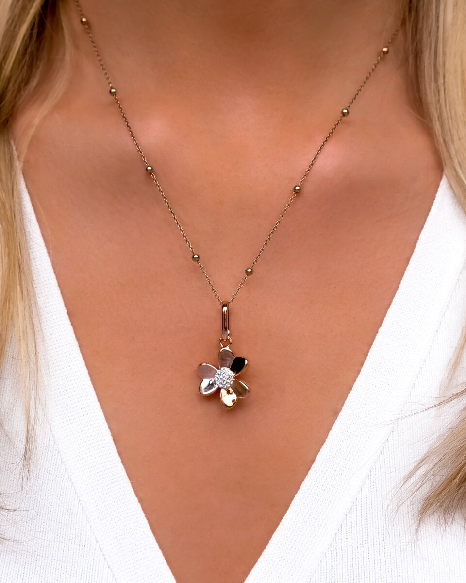 Crystal Flower Sphere Chain Necklace (Rose Gold)