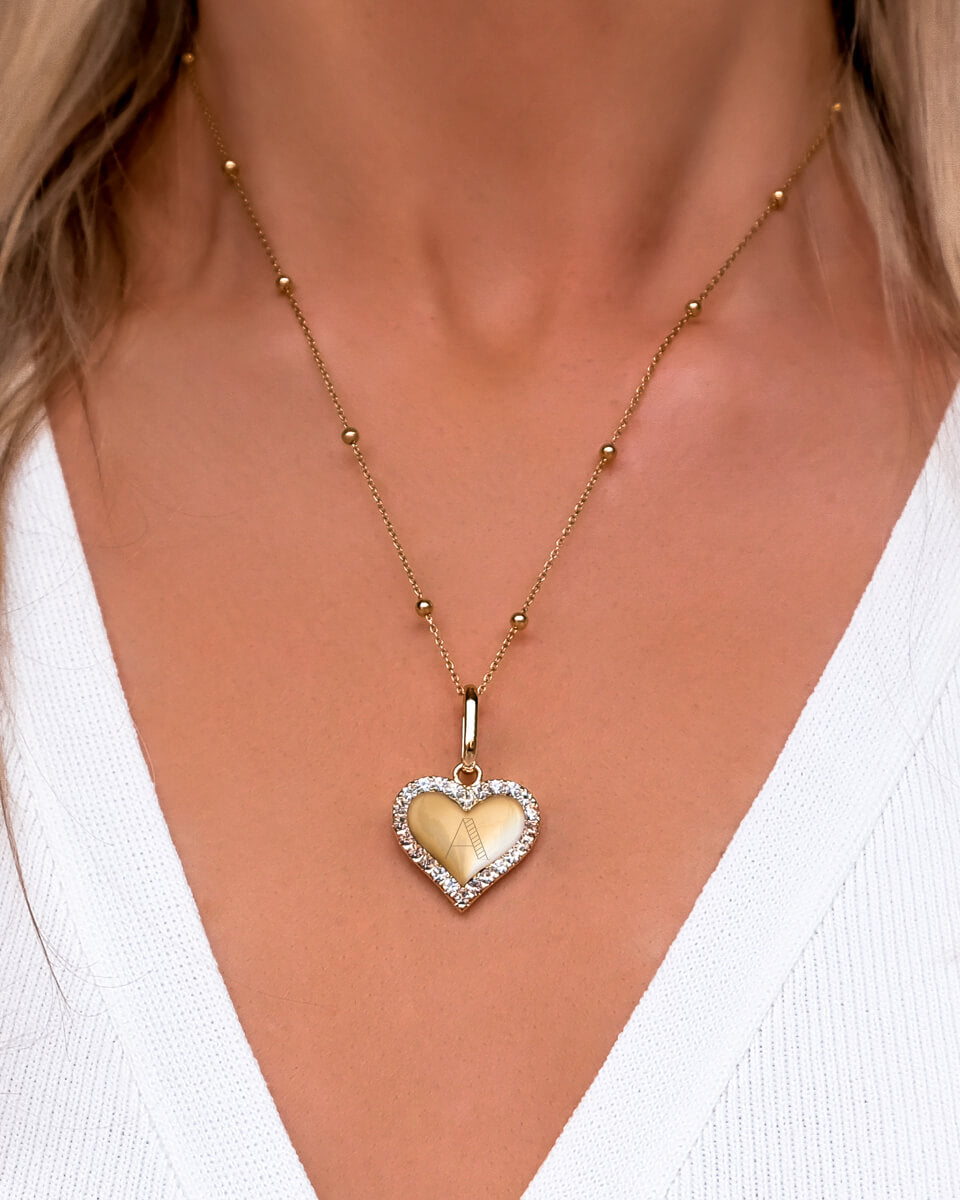 Crystal Heart Sphere Chain Necklace (Gold)