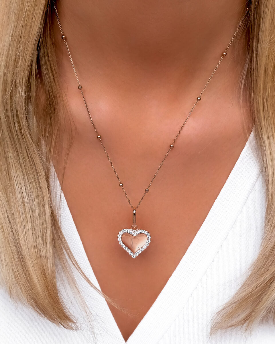 Crystal Heart Sphere Chain Necklace (Rose Gold)