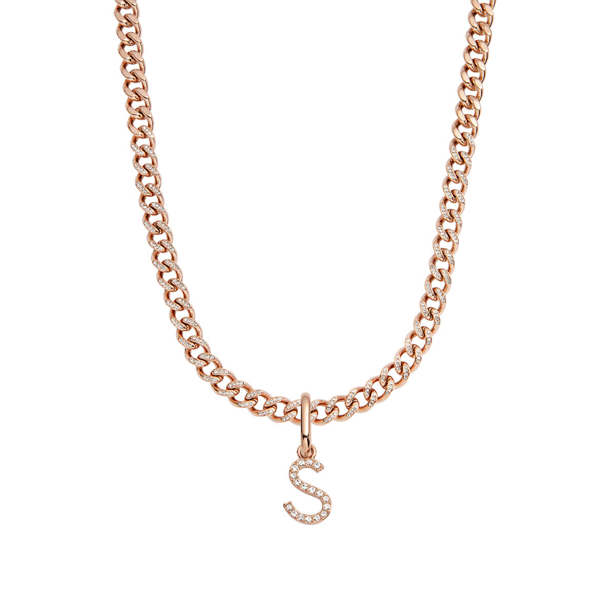Crystal Letter Curb Chain Necklace (Rose Gold)