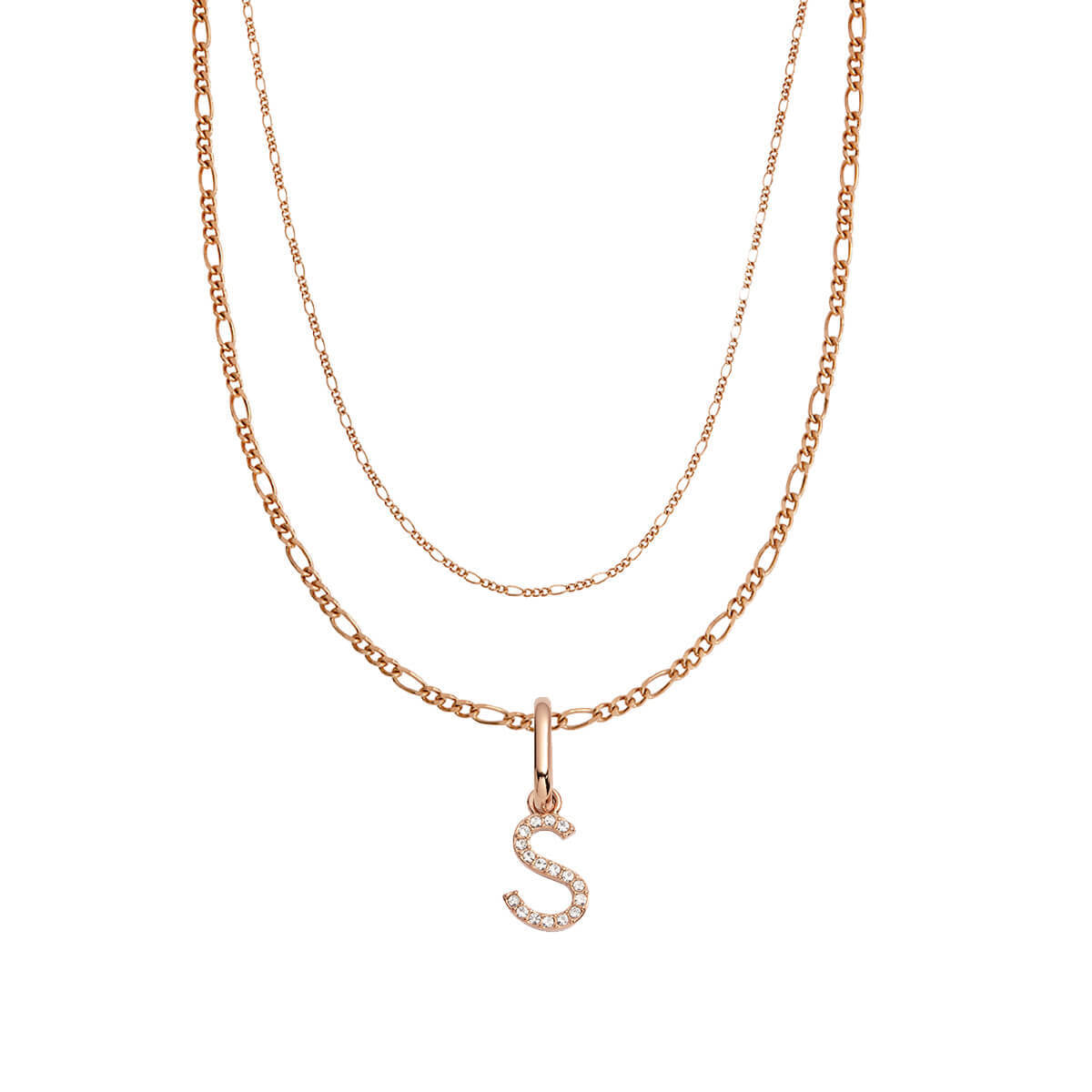 Crystal Letter Figaro Chain Necklace (Rose Gold)