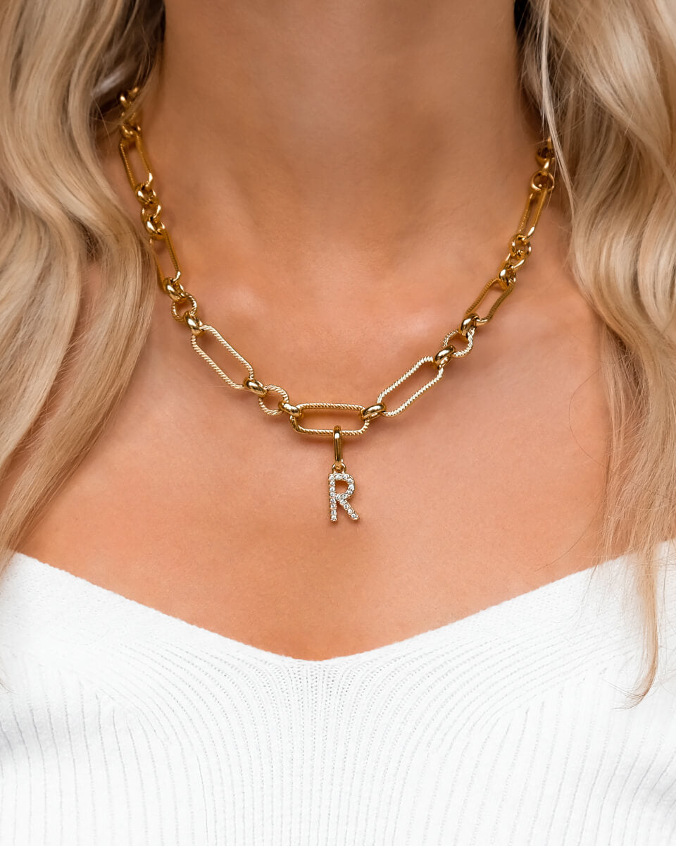 Crystal Letter Figaro Chain Necklace (Gold)