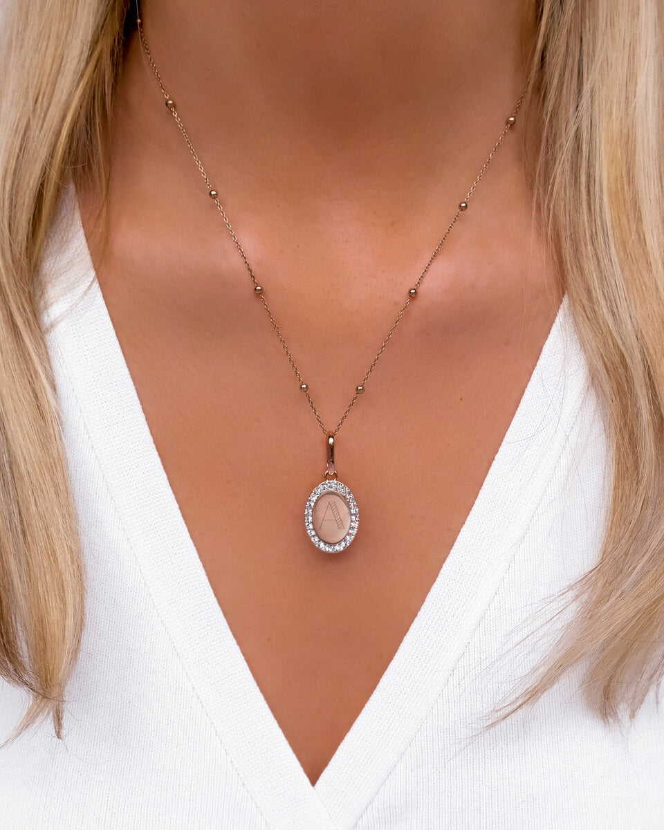 Crystal Oval Sphere Chain Necklace (Rose Gold)