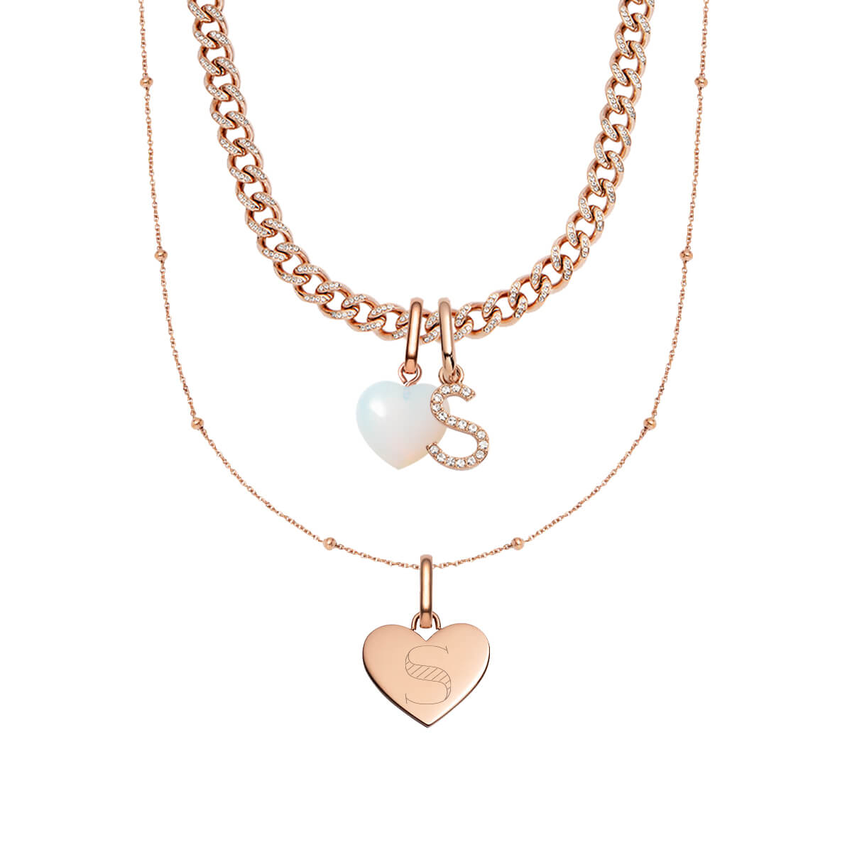 Crystal Personalised Curb & Heart Sphere Chain Layered Set (Rose Gold)