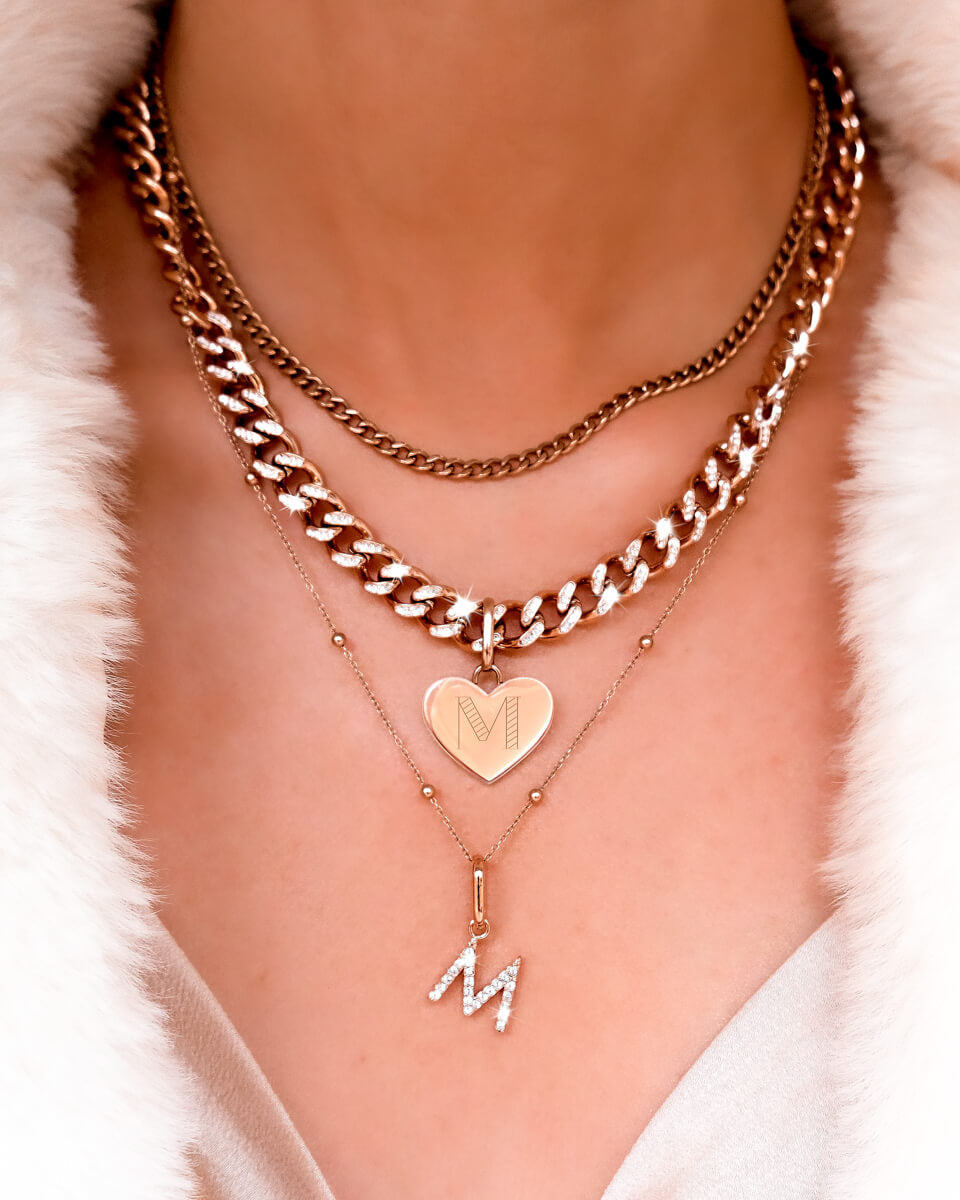 Crystal Letter & Heart Curb Chain Layered Set (Rose Gold)