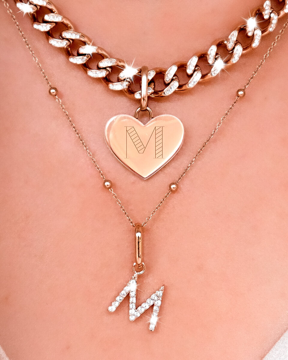 Crystal Letter Pendant (Rose Gold)
