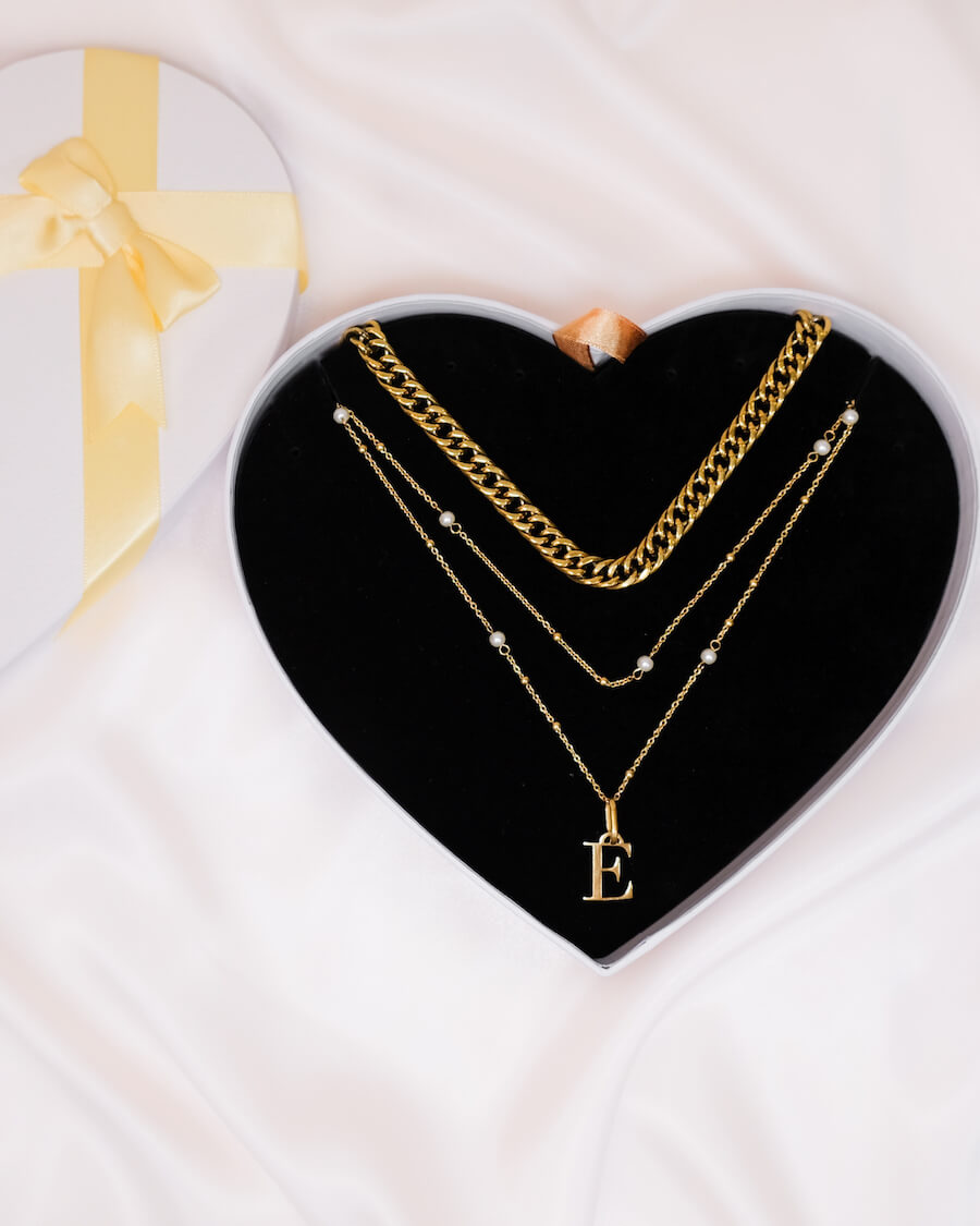 Letter Pearl Double Sphere Chain Love Gift Set (Gold)