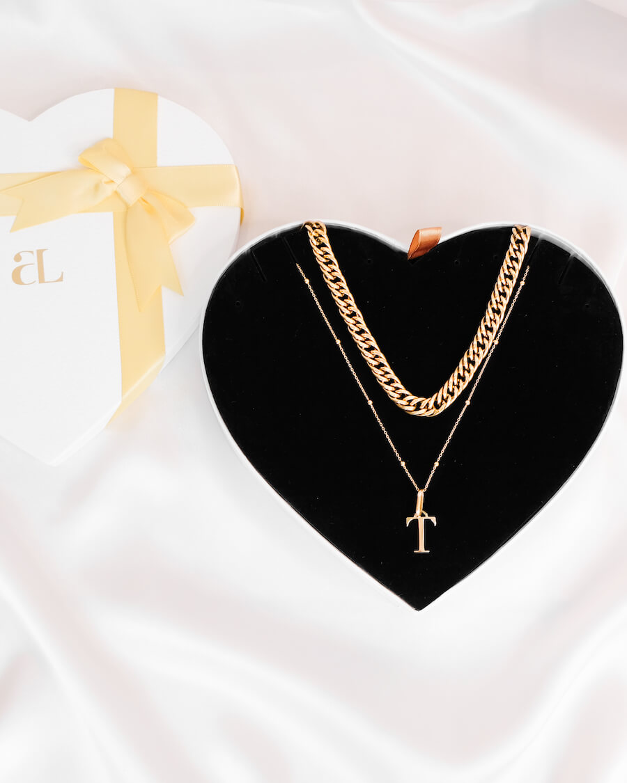 Curb Chain & Letter Sphere Chain Love Gift Set (Gold)