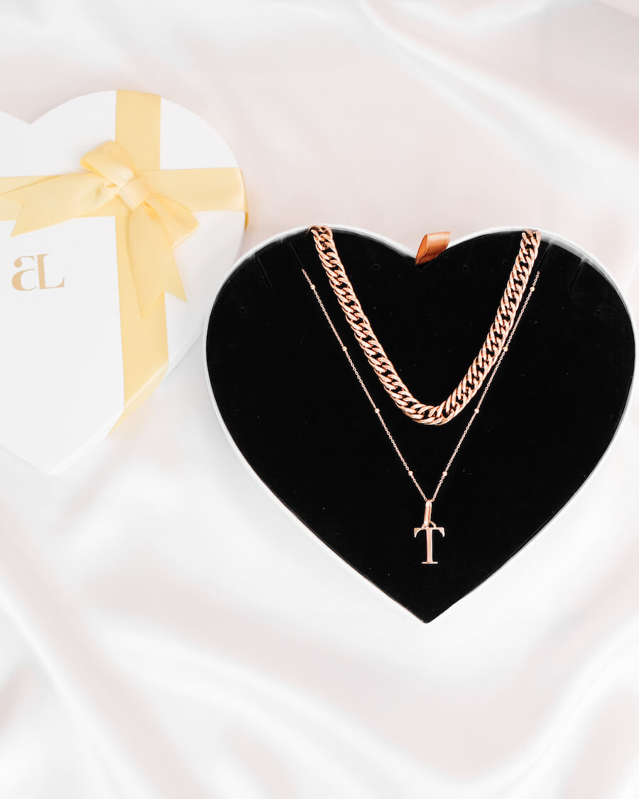 Curb Chain & Letter Sphere Chain Love Gift Set (Rose Gold)